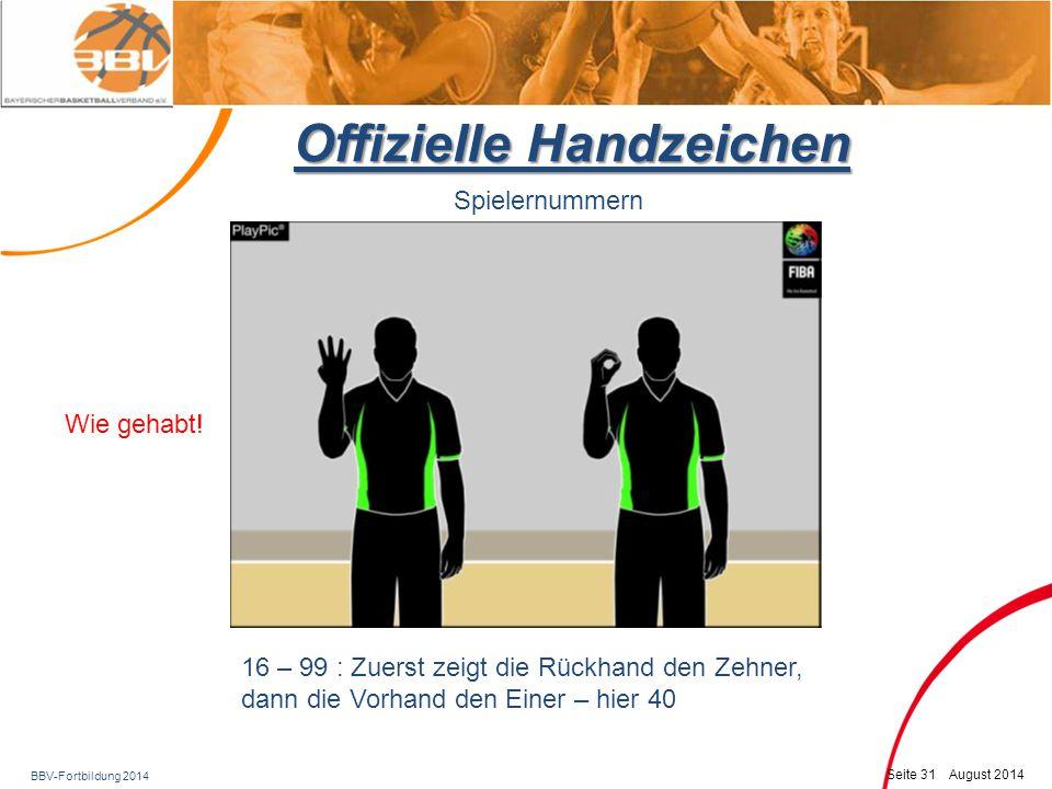 BBV-Fortbildung 2014 Seite 32 August 2014 Offizielle Handzeichen Spielernummern 16 – 99 : Zuerst zeigt die Rückhand den Zehner, dann die Vorhand den Einer – hier 62 Wie gehabt!