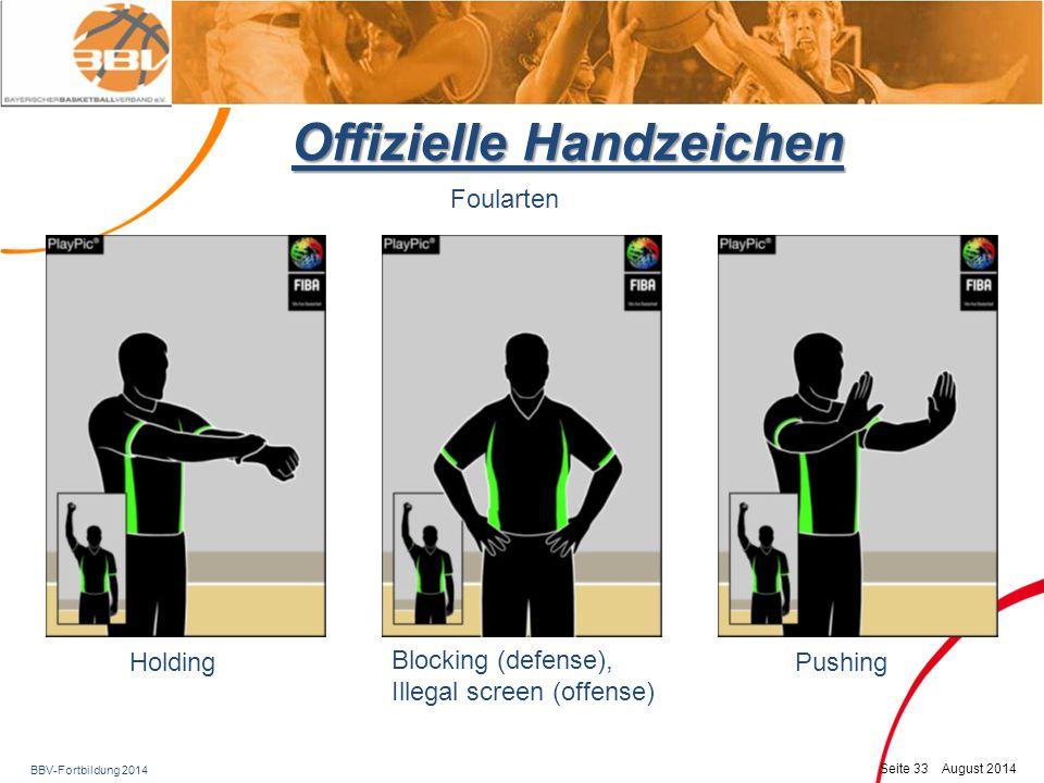 BBV-Fortbildung 2014 Seite 34 August 2014 Offizielle Handzeichen Foularten Handchecking - Verteidiger hat Hand/Hände zu lange am Gegenspieler Neu Hand nach vorne bewegen und dabei das Handgelenk umfassen
