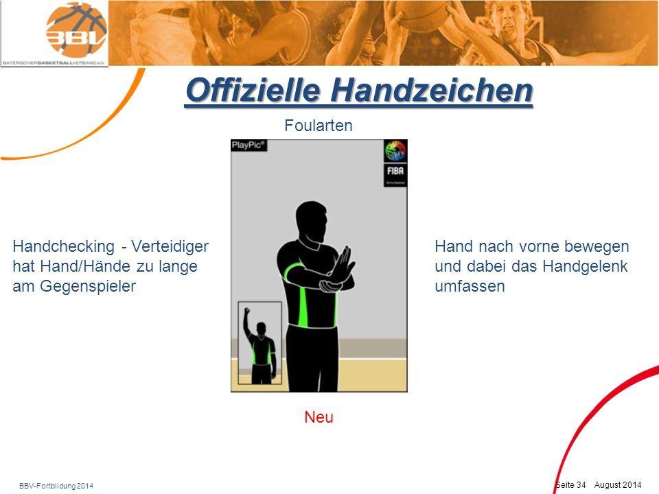 BBV-Fortbildung 2014 Seite 35 August 2014 Offizielle Handzeichen Foularten Illegaler Gebrauch der Hände Charging Anzeige durch Schlagen ans Handgelenk