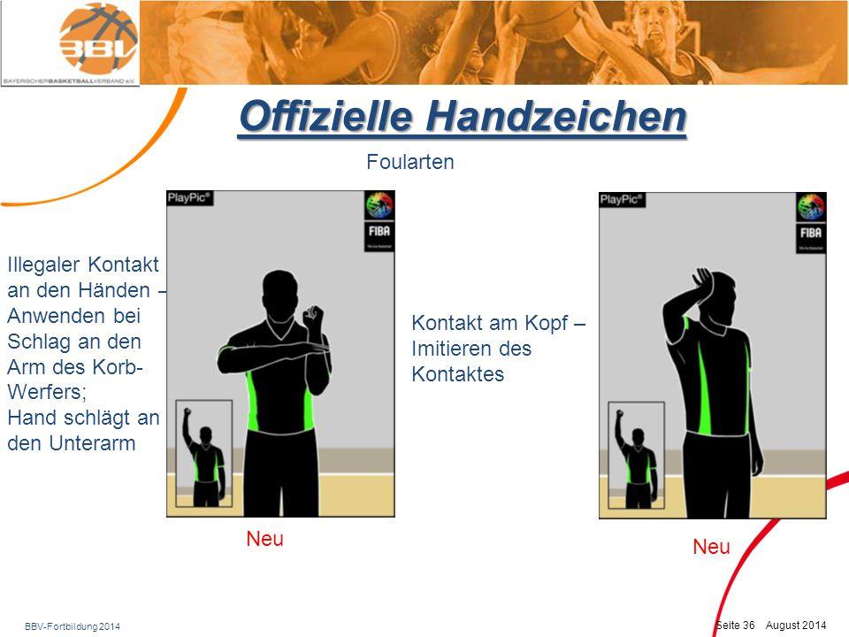 BBV-Fortbildung 2014 Seite 37 August 2014 Offizielle Handzeichen Foularten Ellenbogeneinsatz Foul in Ballkontrolle