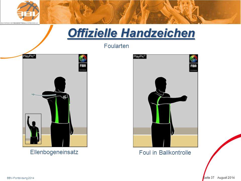 BBV-Fortbildung 2014 Seite 38 August 2014 Offizielle Handzeichen Foularten Foul während Wurfaktion (act of shooting) – Freiwerfer merken und kommunizieren.
