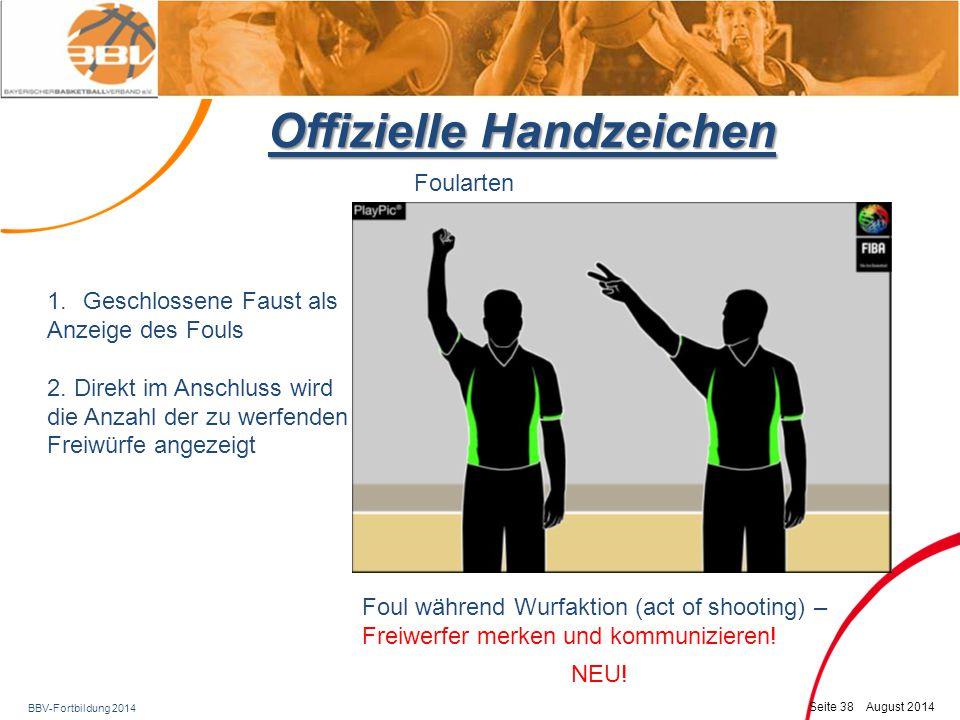 BBV-Fortbildung 2014 Seite 39 August 2014 Offizielle Handzeichen Foularten Foul vor der Wurfaktion ( not act of shooting) NEU.