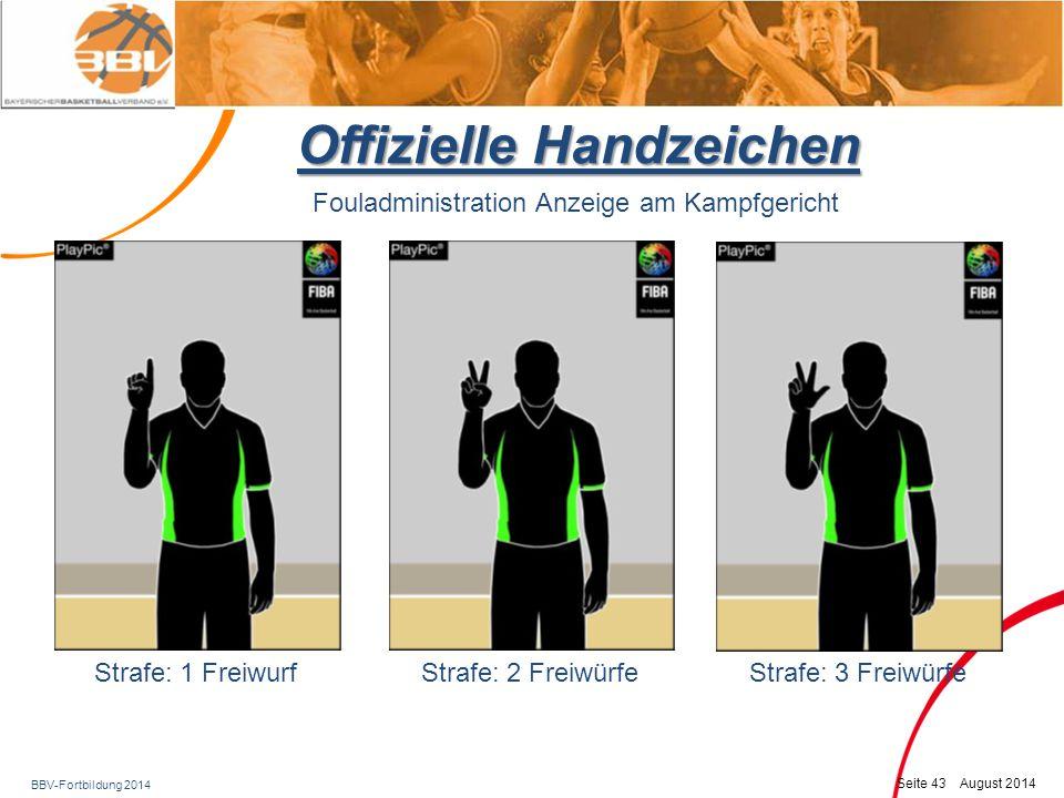 BBV-Fortbildung 2014 Seite 44 August 2014 Offizielle Handzeichen 1 Finger horizontal 2 Finger horizontal3 Finger horizontal Fouladministration als vorderer (aktiver) SR vor der Ballübergabe