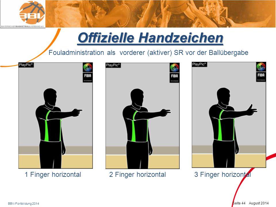 BBV-Fortbildung 2014 Seite 45 August 2014 Offizielle Handzeichen 1 FW: 1 Finger senkrecht 2 FW: Beide Hände senkrecht 3 FW: 3 Finger jeder Hand senkrecht Fouladministration folgender (passiver) SR in Höhe der Freiwurflinie
