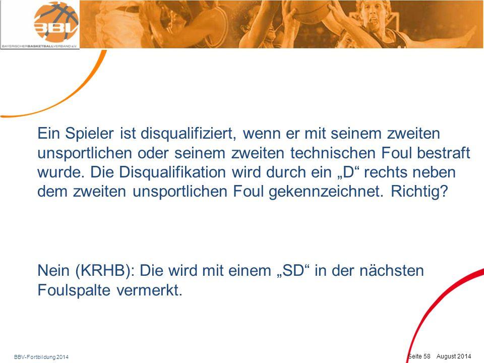 BBV-Fortbildung 2014 Seite 59 August 2014 Bezirksteil: Unterfranken Wurfuhr Information zur 24/14-Sekunden Zeitnahme (vgl.