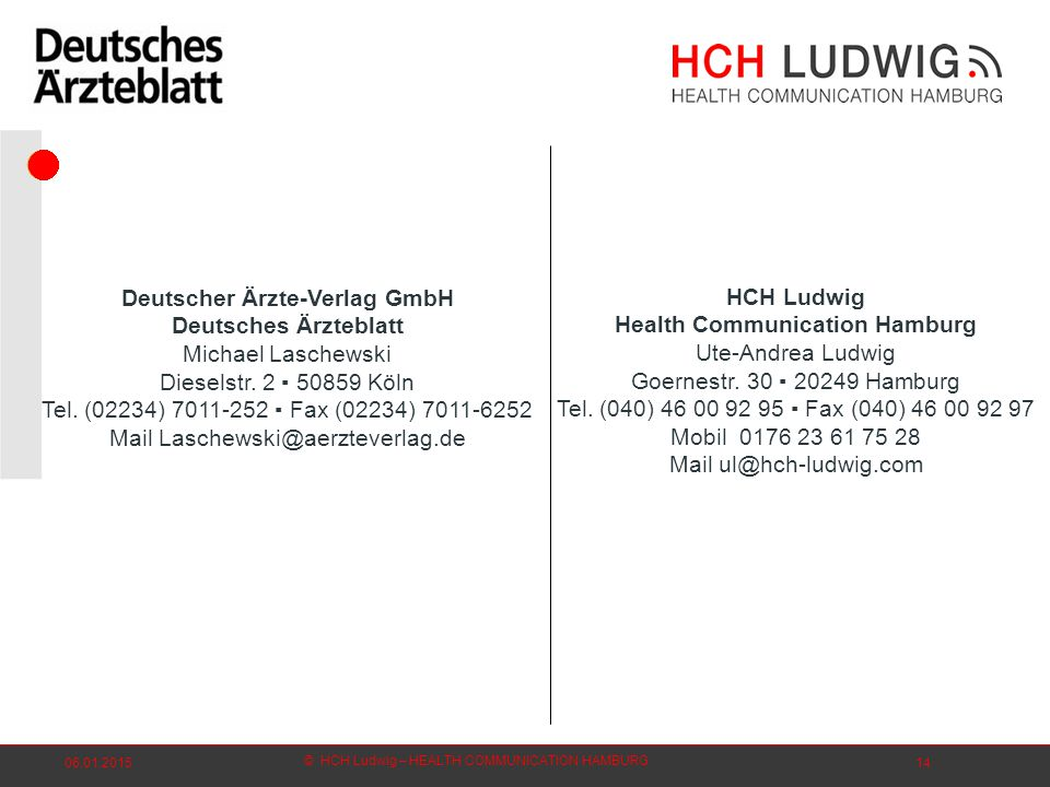 © HCH Ludwig – HEALTH COMMUNICATION HAMBURG 06.01.201514 HCH Ludwig Health Communication Hamburg Ute-Andrea Ludwig Goernestr.