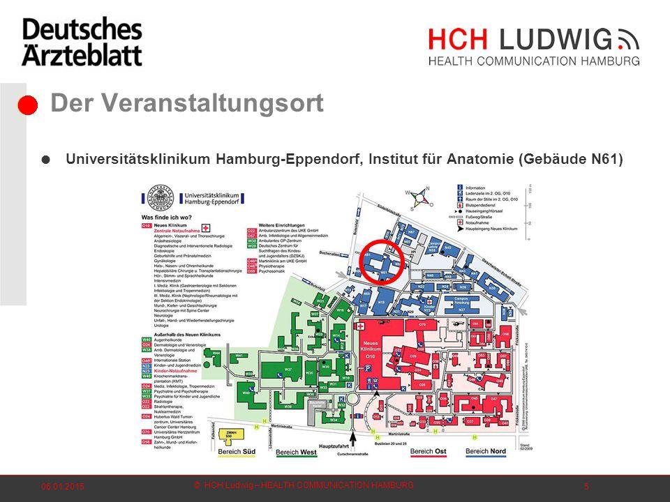 © HCH Ludwig – HEALTH COMMUNICATION HAMBURG 06.01.20155 Der Veranstaltungsort  Universitätsklinikum Hamburg-Eppendorf, Institut für Anatomie (Gebäude N61)