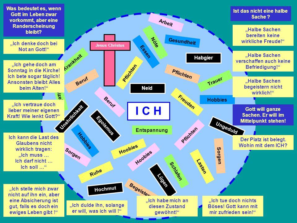 I C H Möchte ich mit allen Konsequenzen, dass Gott zur Mitte meines Lebens wird.