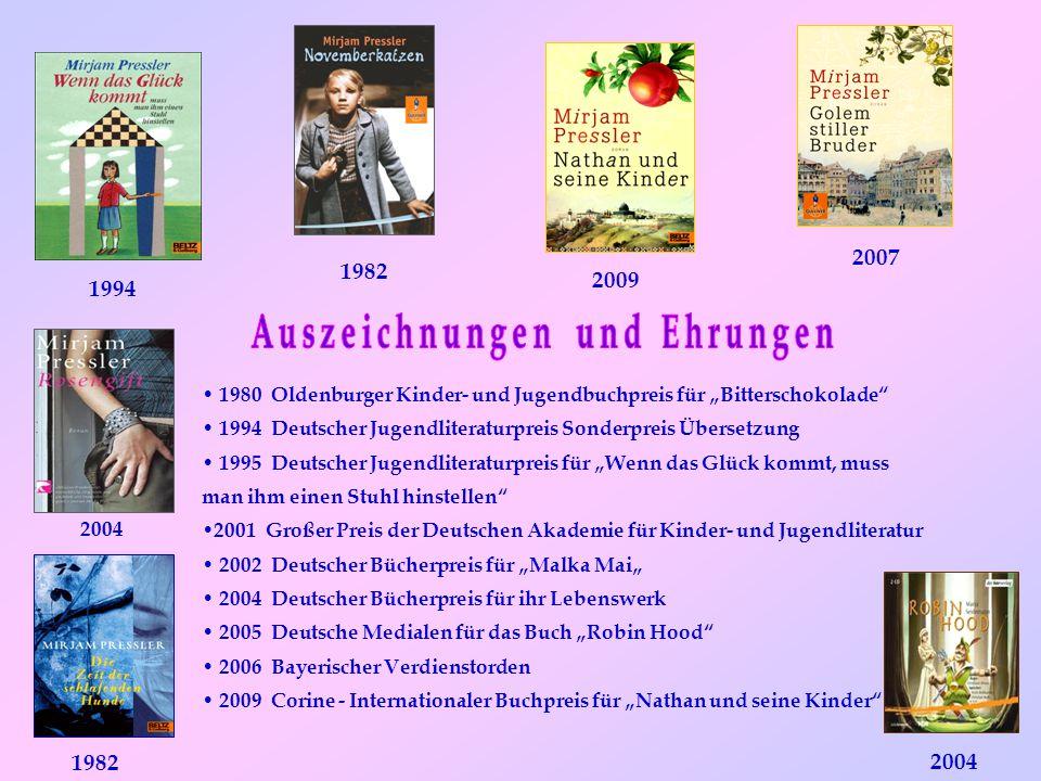 """1980 Oldenburger Kinder- und Jugendbuchpreis für """"Bitterschokolade"""" 1994 Deutscher Jugendliteraturpreis Sonderpreis Übersetzung 1995 Deutscher Jugendl"""