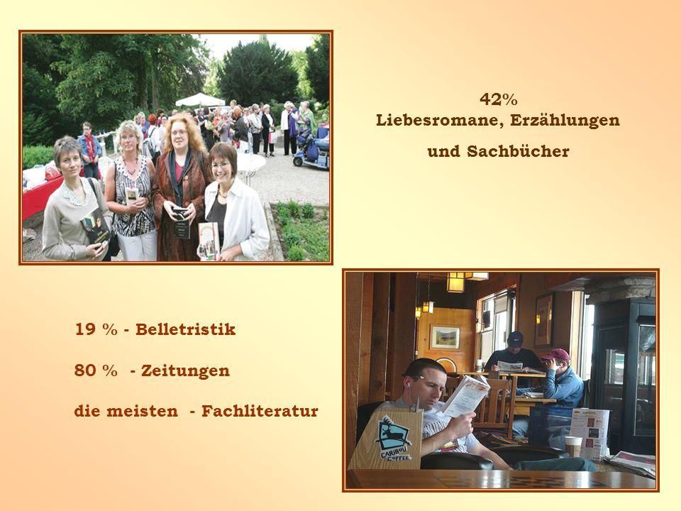 42% Liebesromane, Erzählungen und Sachbücher 19 % - Belletristik 80 % - Zeitungen die meisten - Fachliteratur