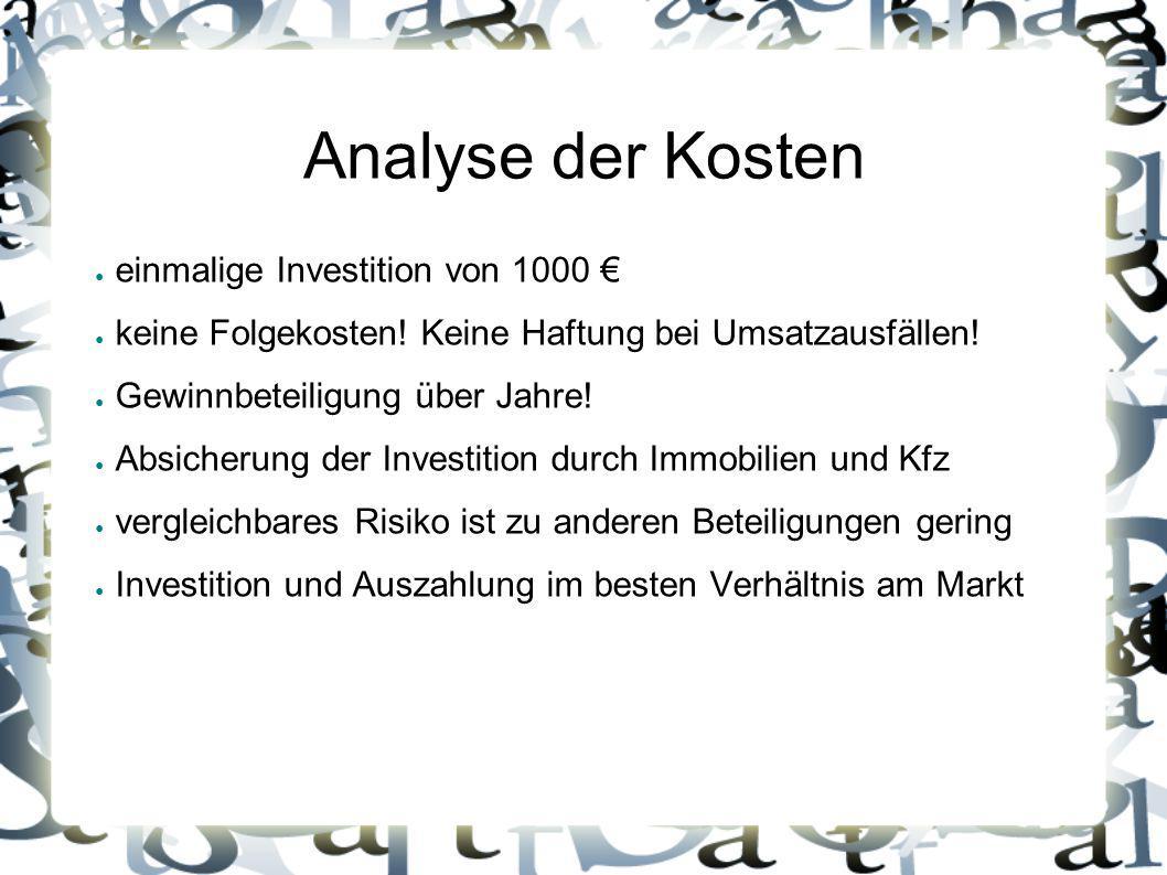 Analyse der Kosten ● einmalige Investition von 1000 € ● keine Folgekosten! Keine Haftung bei Umsatzausfällen! ● Gewinnbeteiligung über Jahre! ● Absich