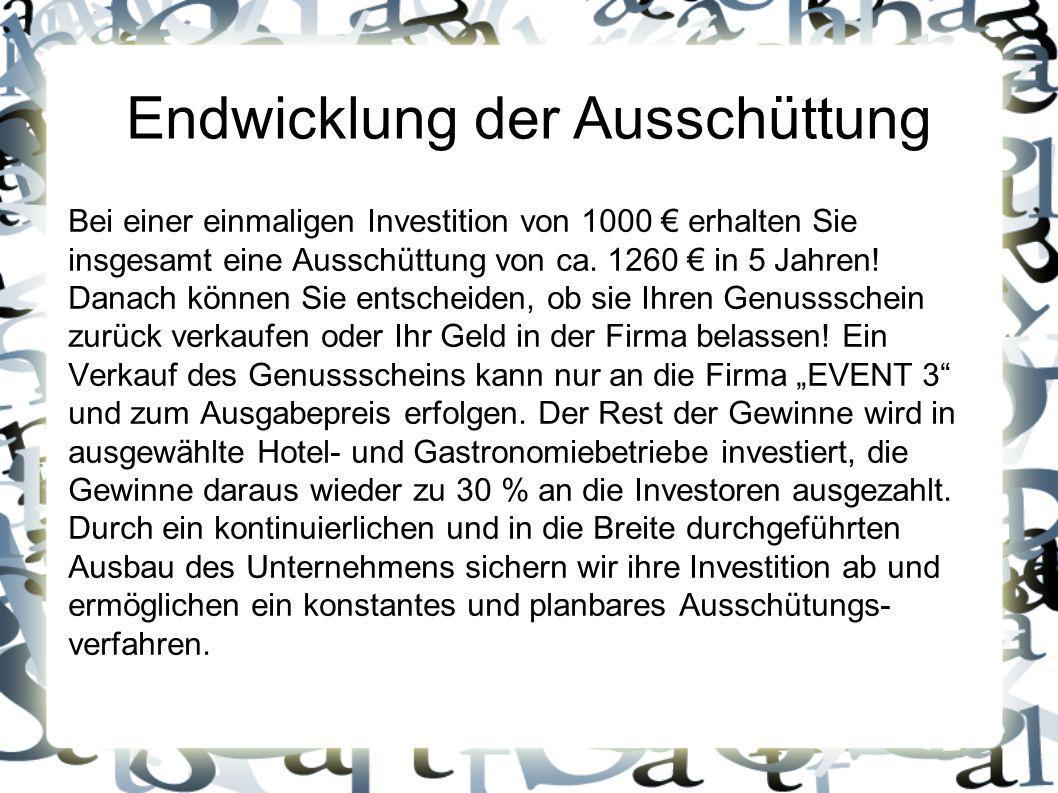 Endwicklung der Ausschüttung Bei einer einmaligen Investition von 1000 € erhalten Sie insgesamt eine Ausschüttung von ca. 1260 € in 5 Jahren! Danach k