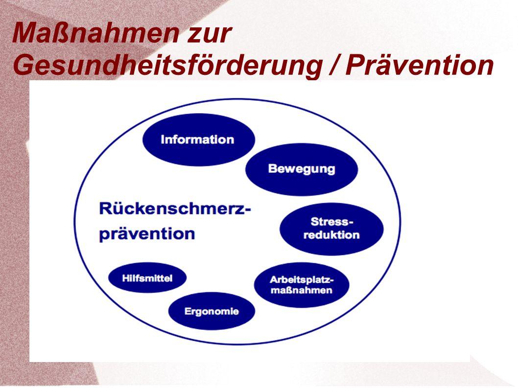 Maßnahmen zur Gesundheitsförderung / Prävention