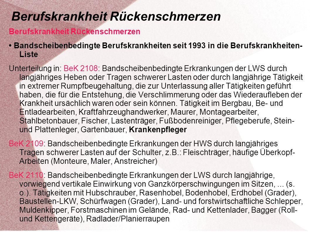 Berufskrankheit Rückenschmerzen Bandscheibenbedingte Berufskrankheiten seit 1993 in die Berufskrankheiten- Liste Unterteilung in: BeK 2108: Bandscheib