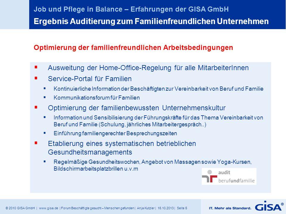 © 2010 GISA GmbH | www.gisa.de | Forum Beschäftigte gesucht – Menschen gefunden | Anja Kutzler | 16.10.2013 | Seite 5 Job und Pflege in Balance – Erfa