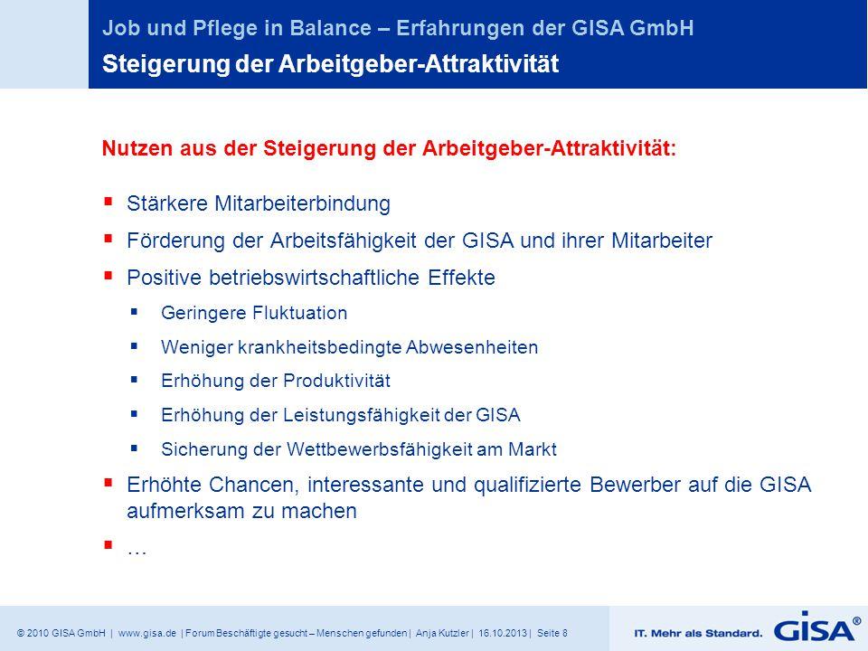 © 2010 GISA GmbH | www.gisa.de | Forum Beschäftigte gesucht – Menschen gefunden | Anja Kutzler | 16.10.2013 | Seite 8 Job und Pflege in Balance – Erfa