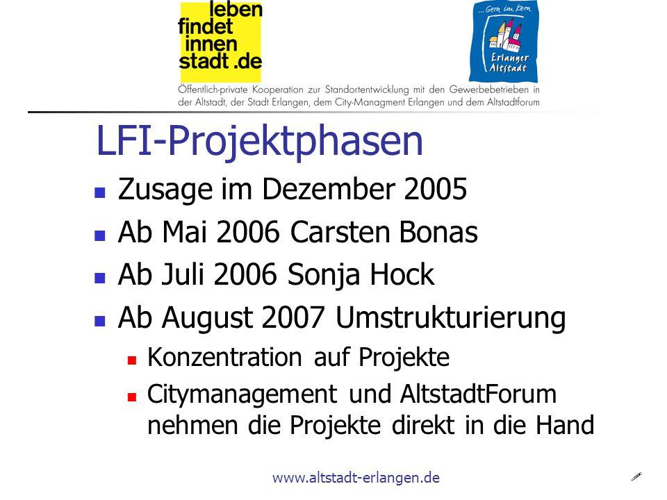 www.altstadt-erlangen.de LFI-Projektphasen  Zusage im Dezember 2005 Ab Mai 2006 Carsten Bonas Ab Juli 2006 Sonja Hock Ab August 2007 Umstrukturierung Konzentration auf Projekte Citymanagement und AltstadtForum nehmen die Projekte direkt in die Hand