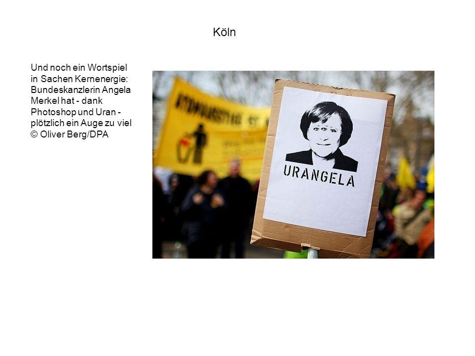 Und noch ein Wortspiel in Sachen Kernenergie: Bundeskanzlerin Angela Merkel hat - dank Photoshop und Uran - plötzlich ein Auge zu viel © Oliver Berg/DPA Köln