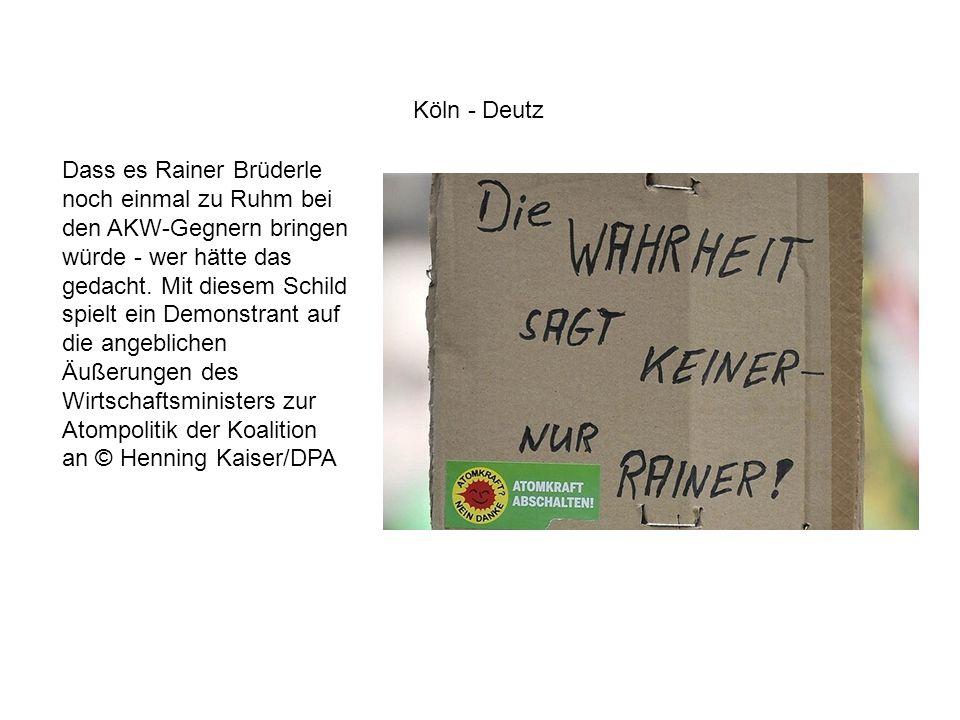 Dass es Rainer Brüderle noch einmal zu Ruhm bei den AKW-Gegnern bringen würde - wer hätte das gedacht. Mit diesem Schild spielt ein Demonstrant auf di
