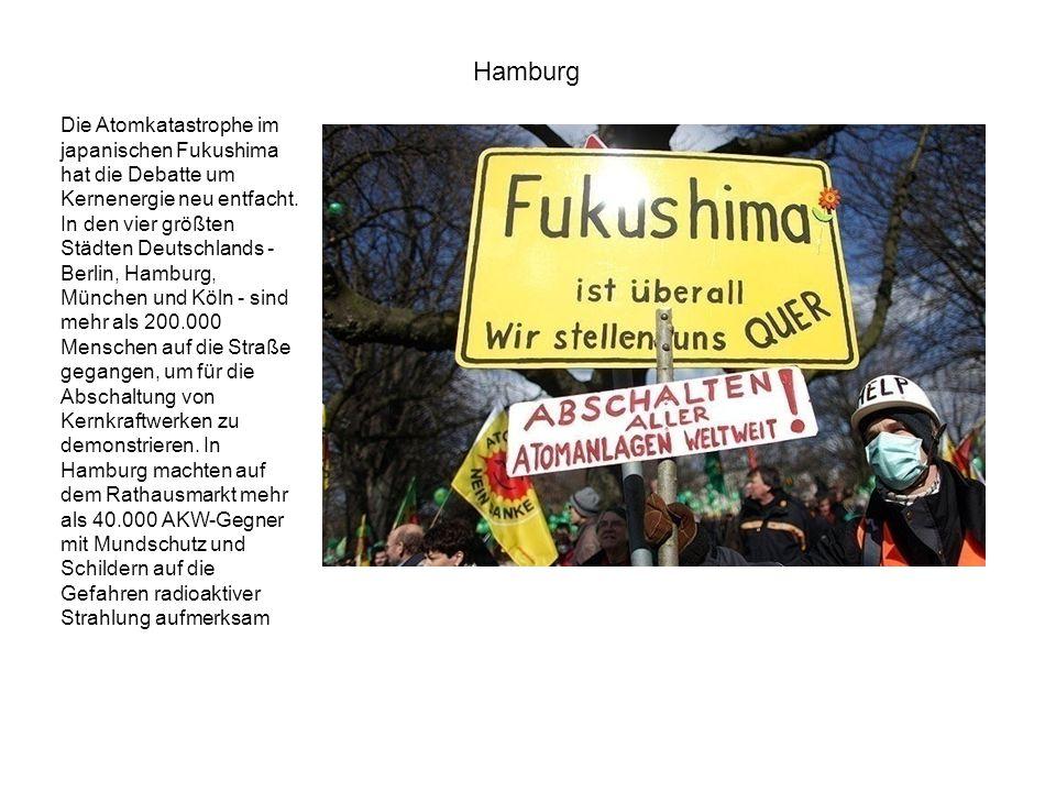 Die Atomkatastrophe im japanischen Fukushima hat die Debatte um Kernenergie neu entfacht. In den vier größten Städten Deutschlands - Berlin, Hamburg,