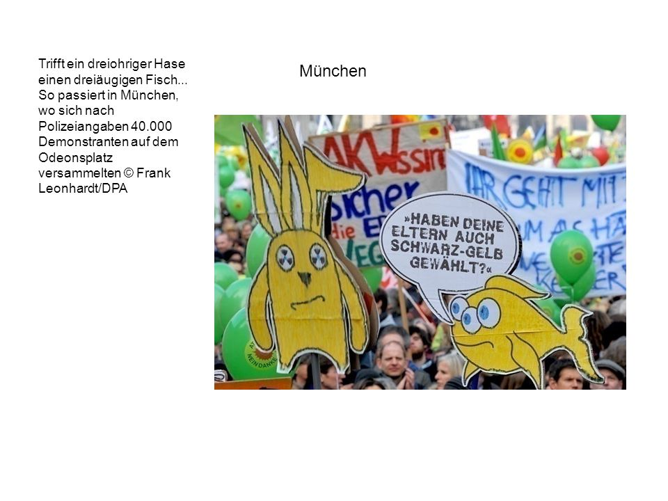 Trifft ein dreiohriger Hase einen dreiäugigen Fisch... So passiert in München, wo sich nach Polizeiangaben 40.000 Demonstranten auf dem Odeonsplatz ve