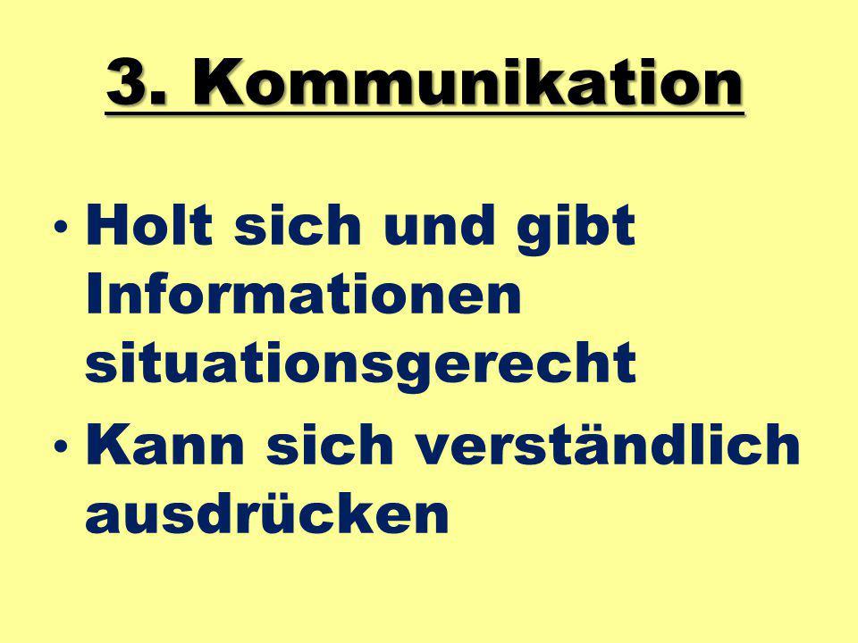 3. Kommunikation Holt sich und gibt Informationen situationsgerecht Kann sich verständlich ausdrücken