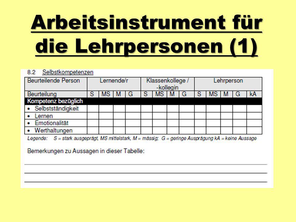 Arbeitsinstrument für die Lehrpersonen (1)
