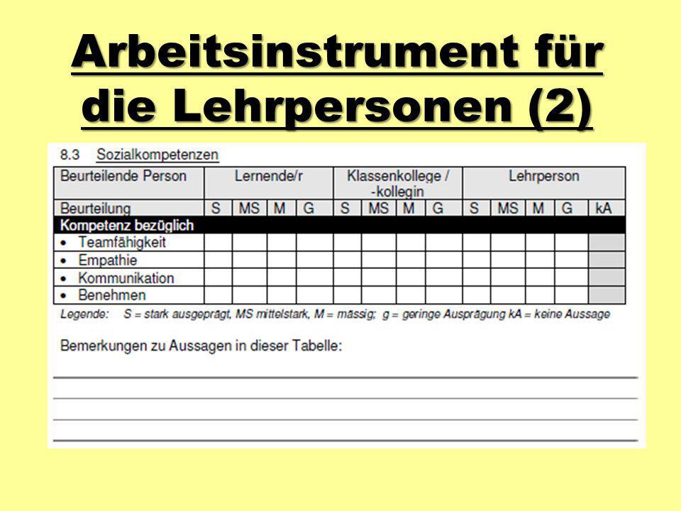 Arbeitsinstrument für die Lehrpersonen (2)