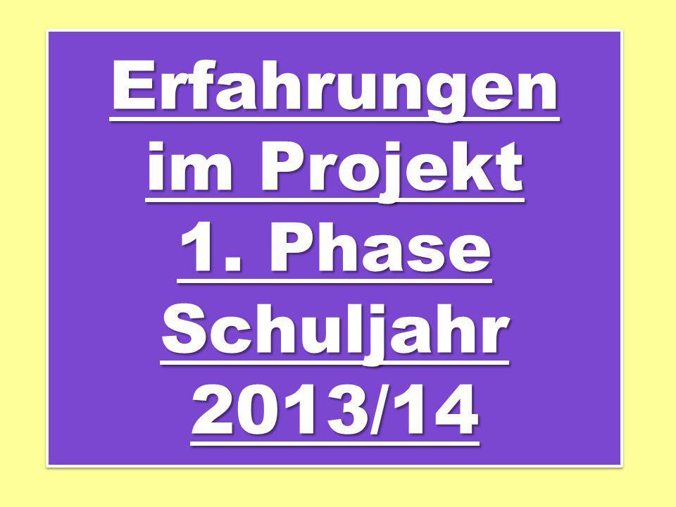 Erfahrungen im Projekt 1. Phase Schuljahr 2013/14 Erfahrungen im Projekt 1. Phase Schuljahr 2013/14