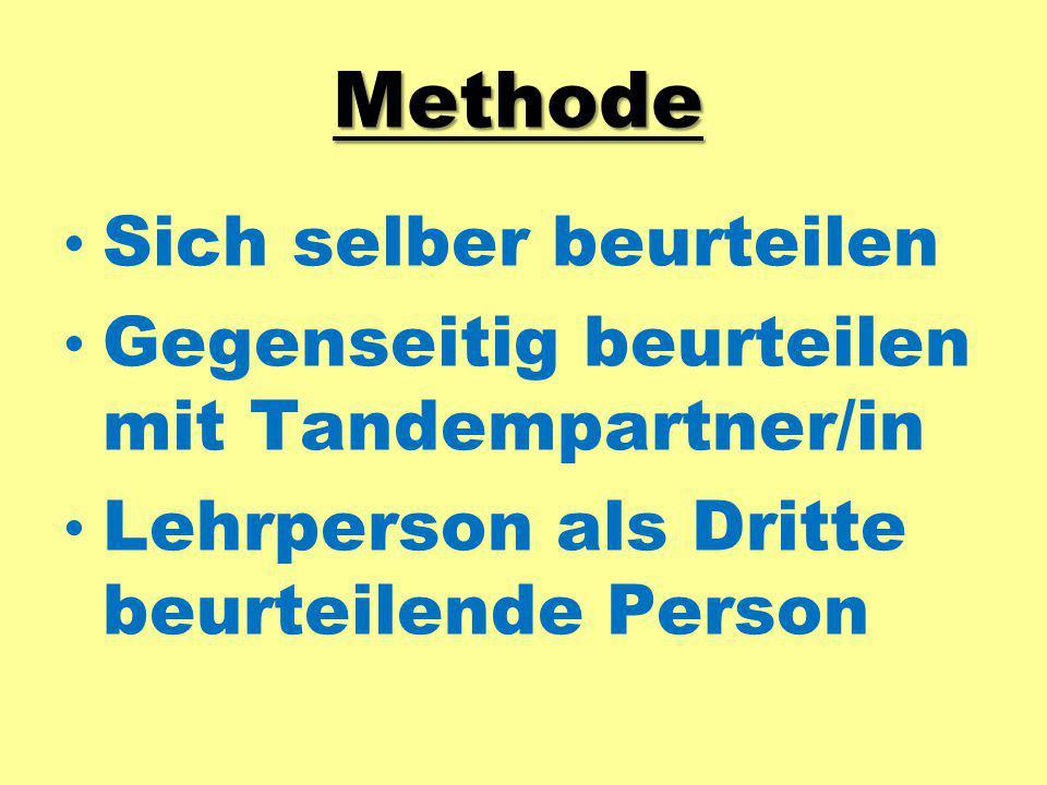 Methode Sich selber beurteilen Gegenseitig beurteilen mit Tandempartner/in Lehrperson als Dritte beurteilende Person