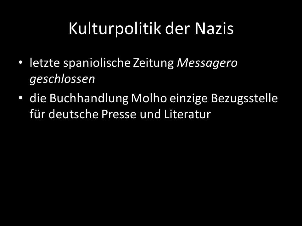 Kulturpolitik der Nazis letzte spaniolische Zeitung Messagero geschlossen die Buchhandlung Molho einzige Bezugsstelle für deutsche Presse und Literatu