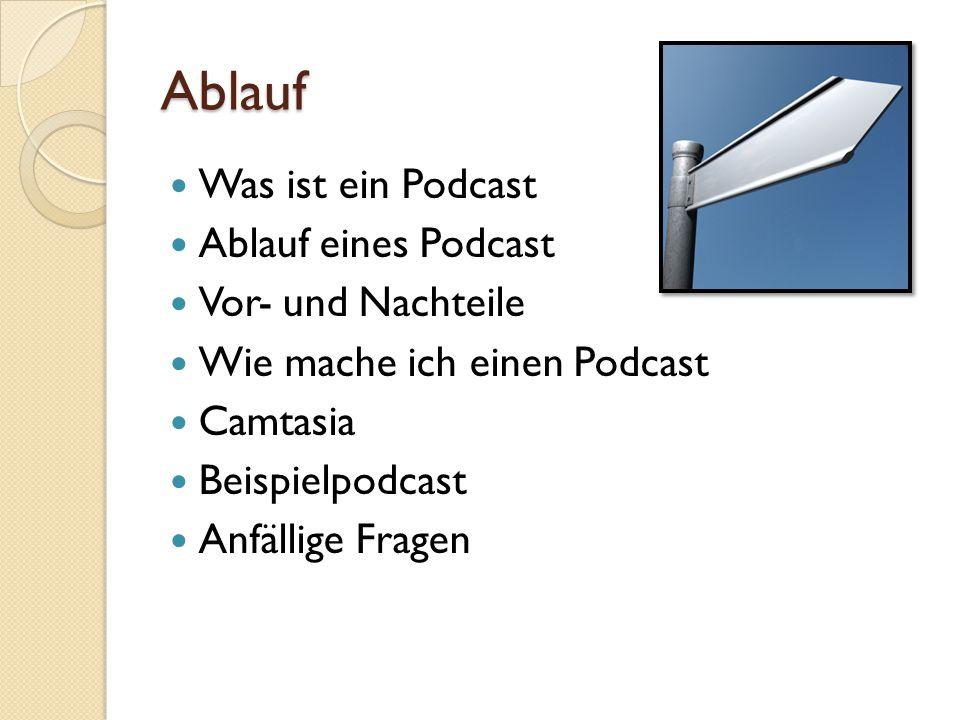 Ablauf Was ist ein Podcast Ablauf eines Podcast Vor- und Nachteile Wie mache ich einen Podcast Camtasia Beispielpodcast Anfällige Fragen