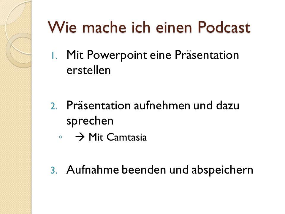 Podcast ins Netz stellen Das Video auf einen Server hochladen Link in die RSS-Feeds erstellen ◦ Sodass man das Video abonnieren kann Publikum auf das neue Video aufmerksam machen