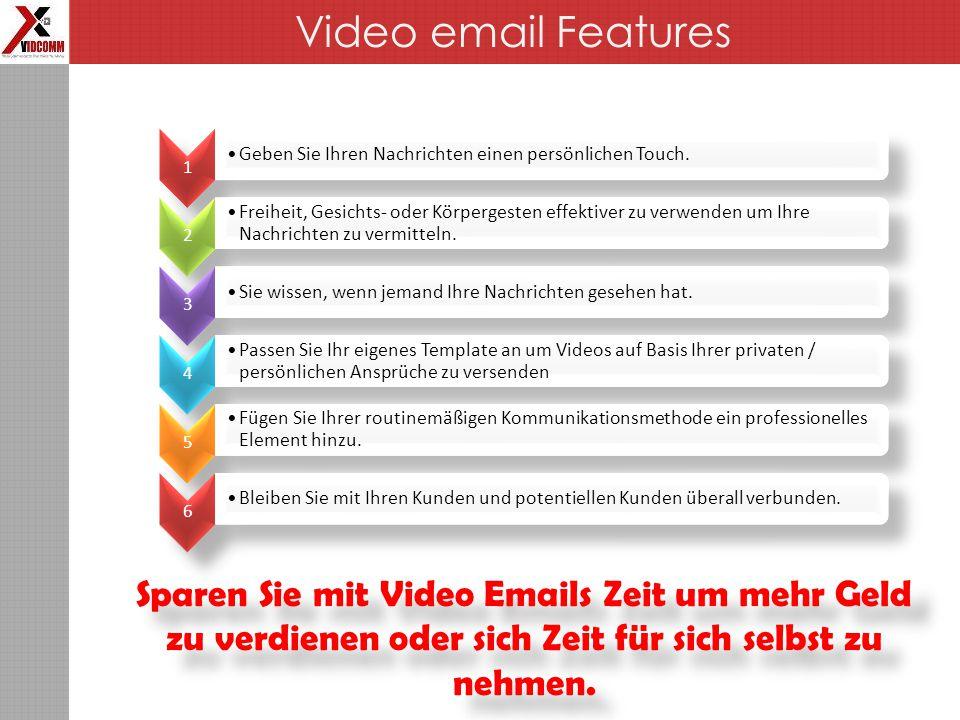 Sparen Sie mit Video Emails Zeit um mehr Geld zu verdienen oder sich Zeit für sich selbst zu nehmen.
