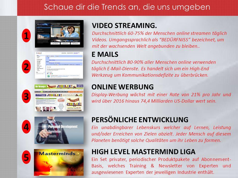 VIDEO STREAMING. Durchschnittlich 60-75% der Menschen online streamen täglich Videos.