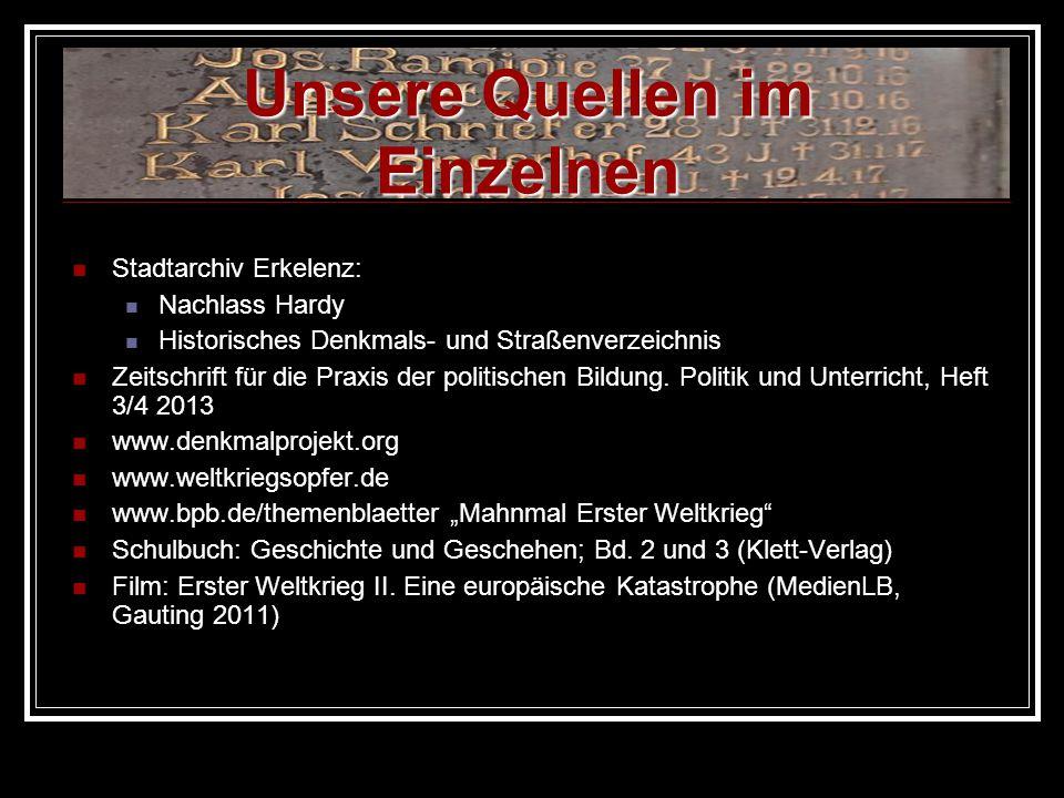 Stadtarchiv Erkelenz: Nachlass Hardy Historisches Denkmals- und Straßenverzeichnis Zeitschrift für die Praxis der politischen Bildung. Politik und Unt