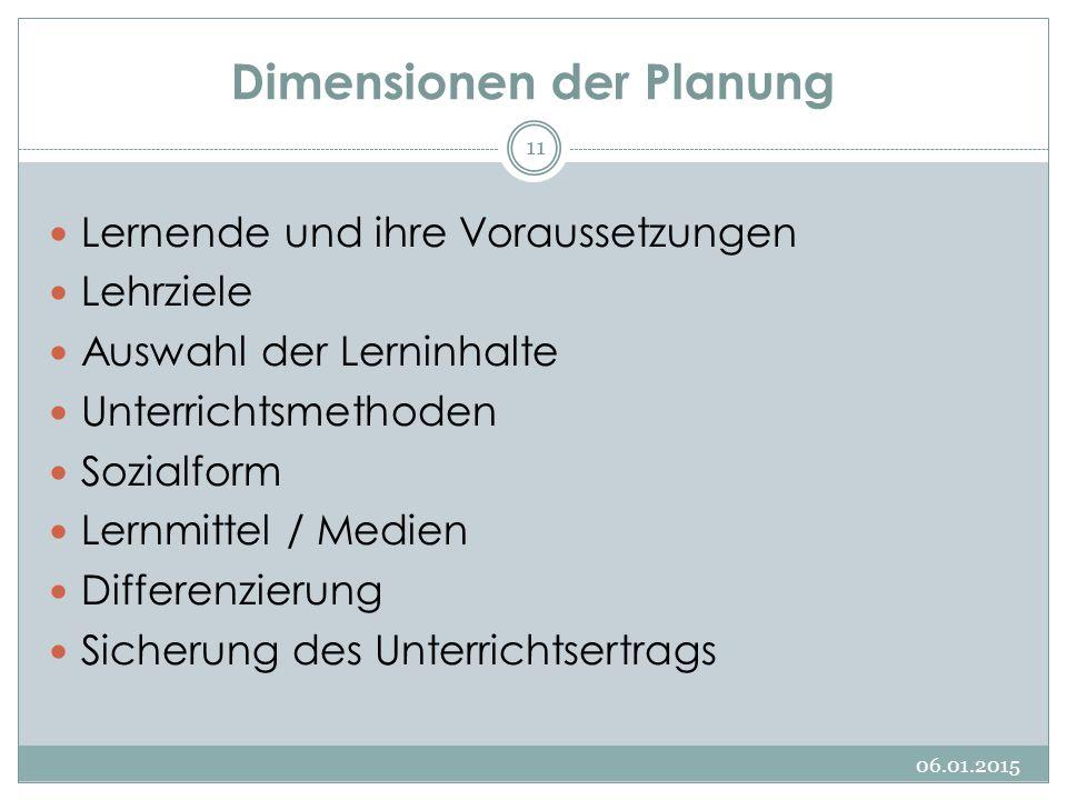 Dimensionen der Planung Lernende und ihre Voraussetzungen Lehrziele Auswahl der Lerninhalte Unterrichtsmethoden Sozialform Lernmittel / Medien Differe