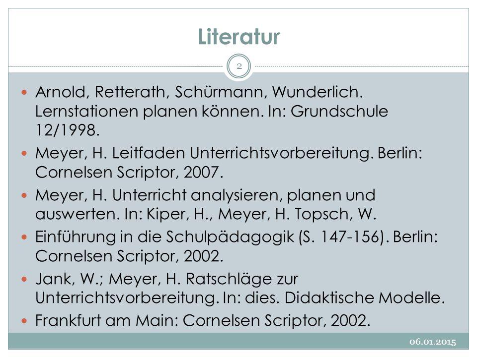 Literatur Arnold, Retterath, Schürmann, Wunderlich. Lernstationen planen können. In: Grundschule 12/1998. Meyer, H. Leitfaden Unterrichtsvorbereitung.