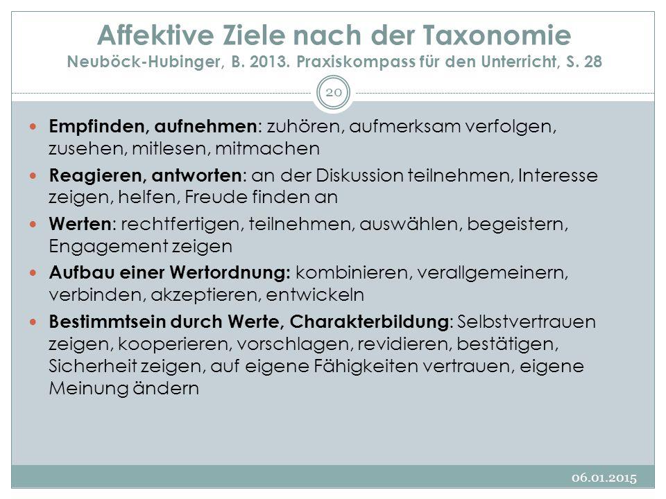 Affektive Ziele nach der Taxonomie Neuböck-Hubinger, B. 2013. Praxiskompass für den Unterricht, S. 28 Empfinden, aufnehmen : zuhören, aufmerksam verfo
