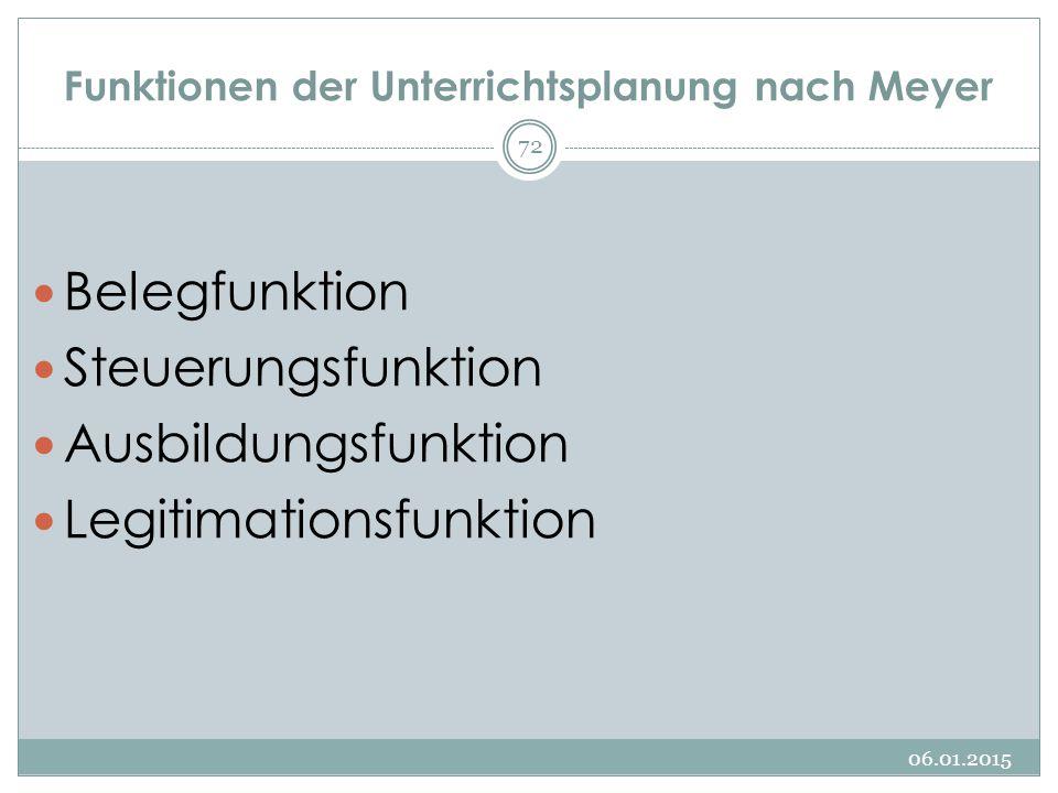 Funktionen der Unterrichtsplanung nach Meyer Belegfunktion Steuerungsfunktion Ausbildungsfunktion Legitimationsfunktion 06.01.2015 72