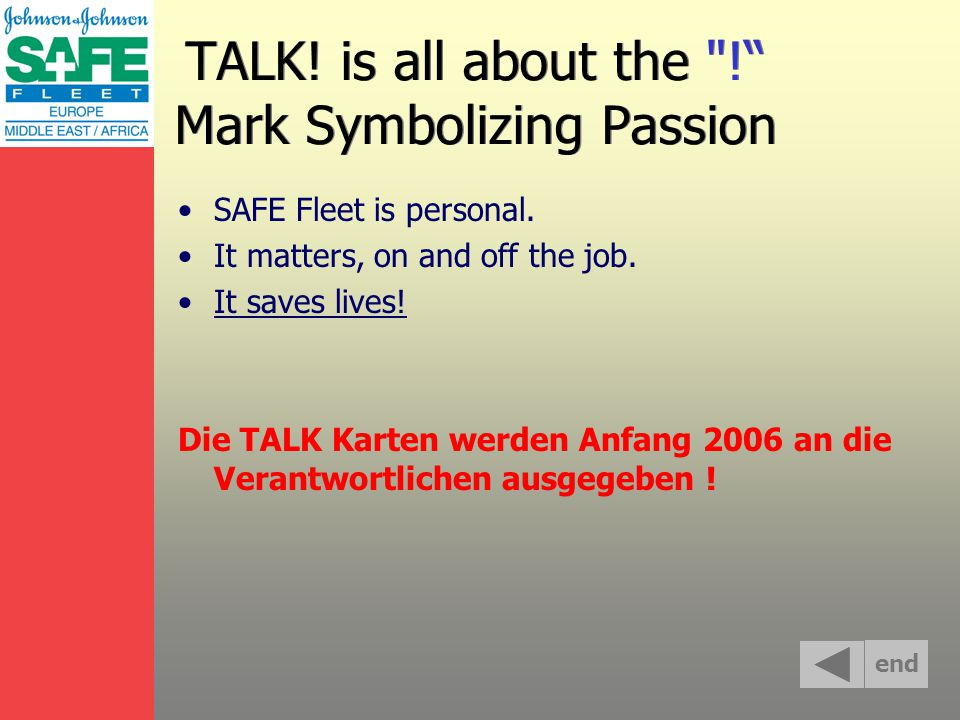 TALK. is all about the ! Mark Symbolizing Passion SAFE Fleet is personal.