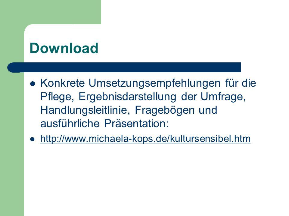 Download Konkrete Umsetzungsempfehlungen für die Pflege, Ergebnisdarstellung der Umfrage, Handlungsleitlinie, Fragebögen und ausführliche Präsentation: http://www.michaela-kops.de/kultursensibel.htm