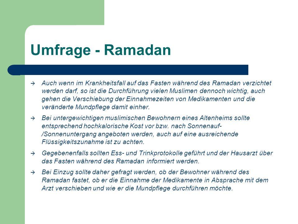 Umfrage - Ramadan  Auch wenn im Krankheitsfall auf das Fasten während des Ramadan verzichtet werden darf, so ist die Durchführung vielen Muslimen dennoch wichtig, auch gehen die Verschiebung der Einnahmezeiten von Medikamenten und die veränderte Mundpflege damit einher.