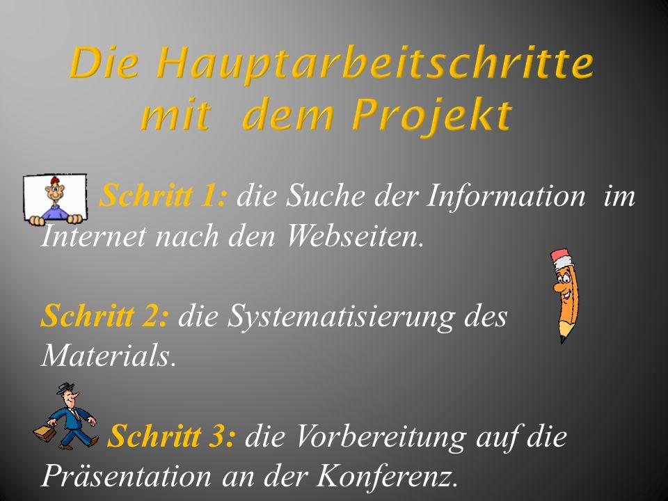 Schritt 1: die Suche der Information im Internet nach den Webseiten. Schritt 2: die Systematisierung des Materials. Schritt 3: die Vorbereitung auf di