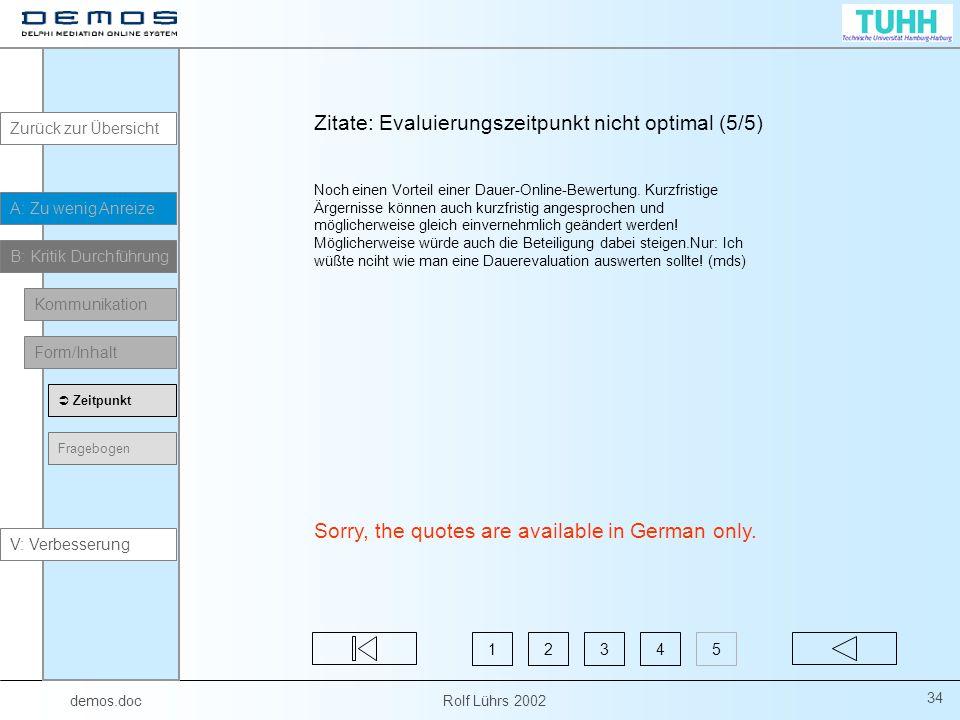 demos.doc Rolf Lührs 2002 34 Zitate: Evaluierungszeitpunkt nicht optimal (5/5) Noch einen Vorteil einer Dauer-Online-Bewertung.