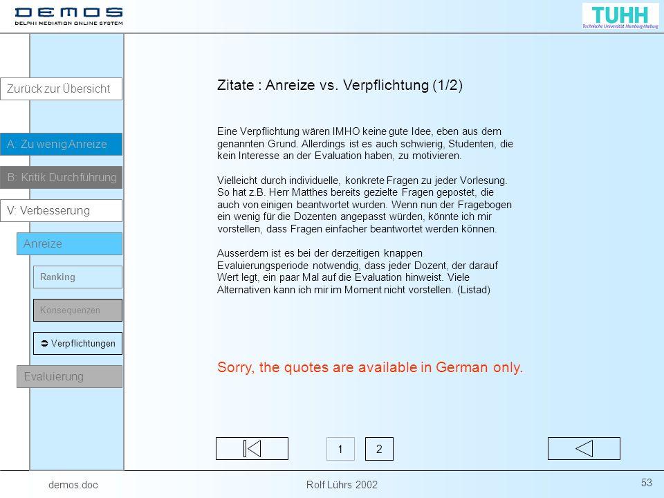 demos.doc Rolf Lührs 2002 53 Zitate : Anreize vs.