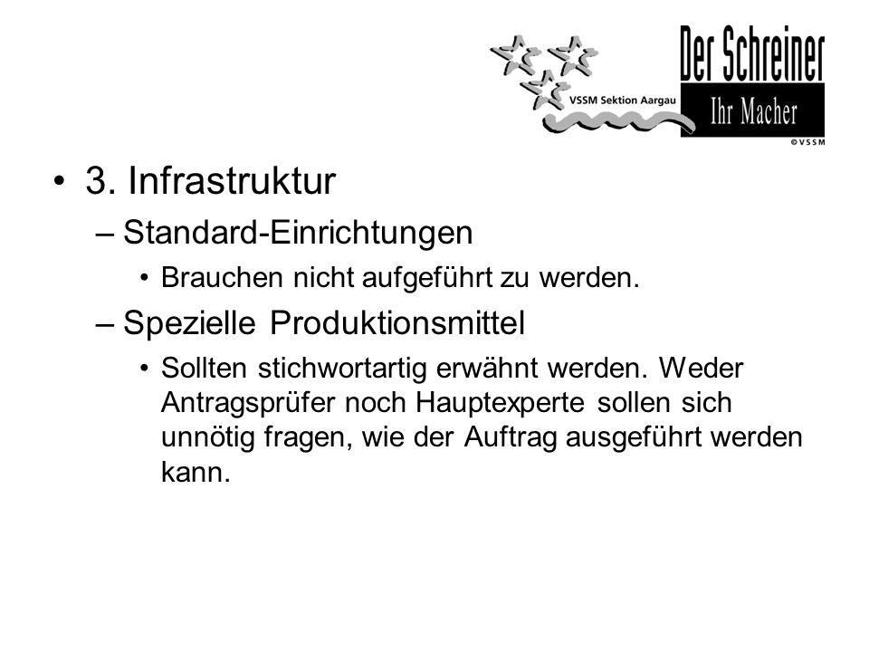 3. Infrastruktur –Standard-Einrichtungen Brauchen nicht aufgeführt zu werden. –Spezielle Produktionsmittel Sollten stichwortartig erwähnt werden. Wede
