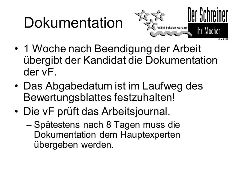 Dokumentation 1 Woche nach Beendigung der Arbeit übergibt der Kandidat die Dokumentation der vF. Das Abgabedatum ist im Laufweg des Bewertungsblattes