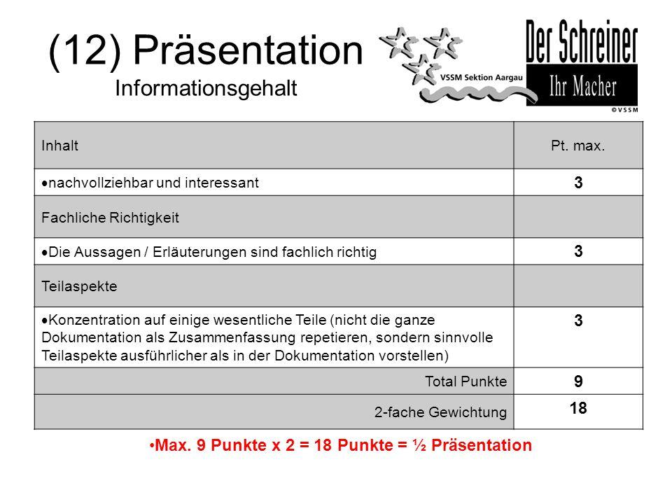 (12) Präsentation Informationsgehalt InhaltPt. max.  nachvollziehbar und interessant 3 Fachliche Richtigkeit  Die Aussagen / Erläuterungen sind fach
