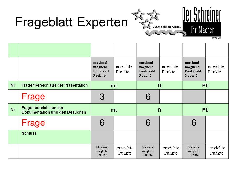Frageblatt Experten maximal mögliche Punktzahl 3 oder 6 erreichte Punkte maximal mögliche Punktzahl 3 oder 6 erreichte Punkte maximal mögliche Punktza